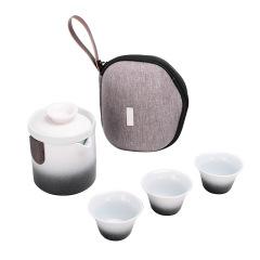 家用办公便携式旅行茶具套装 一壶三杯陶瓷快客杯礼盒套装 送客户商务礼品