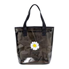 日系ins风小雏菊透明手提包 时尚便携沙滩旅行收纳包 旅行收纳礼品