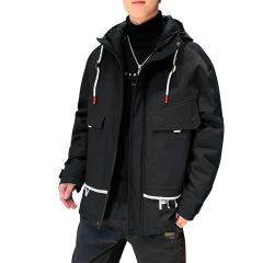 冬季男士翻领羽绒服 宽松加厚时尚印花工装外套 可定制公司logo