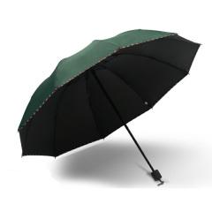 简约十骨黑胶晴雨伞 商务三折广告伞