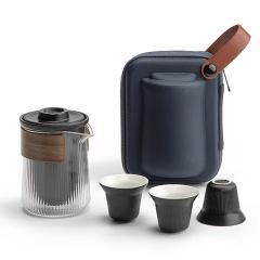 【经纬】竖条纹设计 一体式旅行茶具套装 公司员工生日礼物