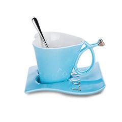 心形陶瓷咖啡杯 创意马克杯杯碟 周年庆礼品
