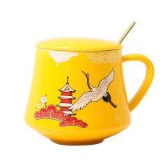 國潮風 復古仙鶴馬克杯 陶瓷杯帶蓋帶勺 茶杯咖啡杯 實用小禮品