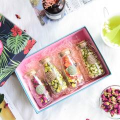 火烈鳥花茶禮盒 重瓣紅玫瑰+水果茶+茉莉花+胎菊組合四件套 花草茶四瓶裝 有心思的禮品