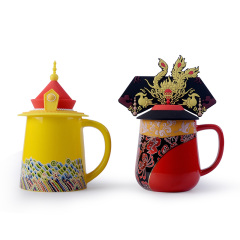 故宫龙凤对杯礼盒装 中国风创意陶瓷杯 龙凤马克杯组合370ML 送国外客户礼品 中国特色礼品