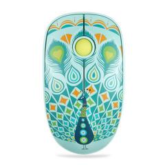 【PEACOCK 孔雀】類膚手感V8櫻桃滾輪靜音手繪藝術無線鼠標 端午員工福利