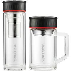 菲馳(VENES)大氣耐看玻璃杯套裝直杯辦公杯兩件套 商務禮品推薦200元