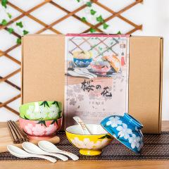 【日式和风】陶瓷碗筷勺子套装 四碗筷勺礼盒 高端地产项目礼品