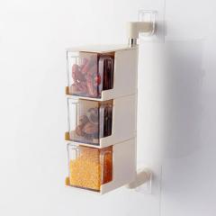 粘贴式壁挂旋转调味盒 带勺子--米色(3层)实用的生活用品
