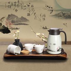 菲驰(VENES)水墨清华双层不锈钢保温壶+精美咖啡杯+多用储物罐套装 送客人什么礼品好