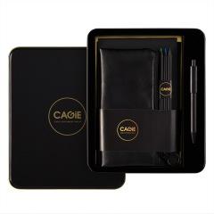 黑金炫酷商務套裝 A5純黑筆記本套裝(筆記本+簽字筆+筆袋+畫筆+便簽本)鐵盒裝記事本禮盒