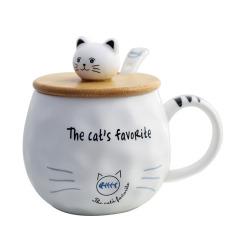 The Cat's Favorite带竹盖带勺子卡通猫马克杯 陶瓷杯定制 圣诞节送粉丝小礼品