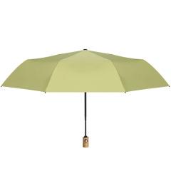 莫兰迪色系三折晴雨伞 手动/全自动黑胶太阳伞 防紫外线折叠伞定制