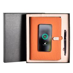 A5带笔无线充电笔记本套装 带U盘移动电源记事本 送礼商务套装