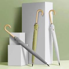森系直杆伞 纯色弯木柄晴雨伞 长柄广告伞