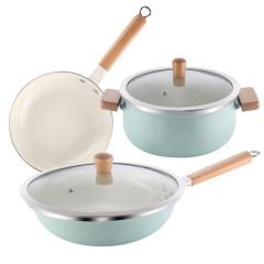 德國NOLTE 韻雅搪瓷炒鍋湯鍋煎鍋廚具三件套 實用禮品的選擇