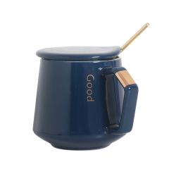 商务描金陶瓷咖啡杯 带盖带勺陶瓷杯 办公室马克杯定制