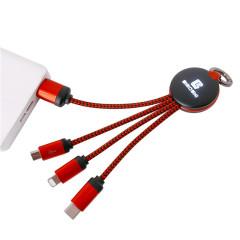 多功能钥匙扣数据线 三合一编织充电线 可定制发光LOGO礼品