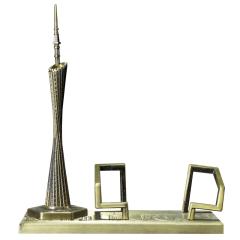 广州塔名片座 广州地标建筑小蛮腰工艺品 金属桌面摆件 广州特色小礼品