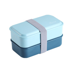 ins双层绑带便当盒 办公室可微波炉日式午餐盒