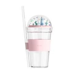 创意微景观塑料杯 闪粉卡通羊驼吸管杯 精美礼品杯