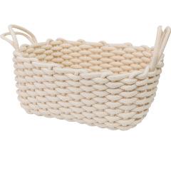 北欧风手工编织篮 简约收纳粗棉绳篮 杂物筐桌面收纳盒 简约精致礼品