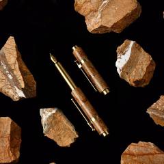 【秋实】设计款入石系列便携钢笔礼盒 经典便携小钢笔 大理石黄铜钢笔 商务礼品