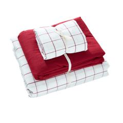 无印良品风水洗棉家纺四件套 简约格子全棉枕套床单被套套装(初春格)年会节目礼品
