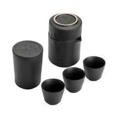 创意远山黑陶快客杯 一壶四杯便携旅行茶具套装 给客户送礼品送什么比较好