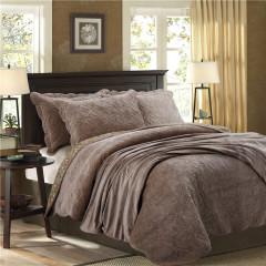 美式鄉村風 純色鉆石絨床品四件套 加厚水晶絨床上套件 高檔法蘭絨床上用品套裝2米 公司十周年禮品
