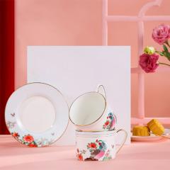 百鸟朝凤咖啡杯碟 欧式小奢华咖啡杯礼盒 周年庆礼盒