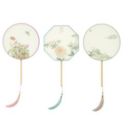 【苏州博物馆】原创古风真丝团扇 中国风八角扇 创意七夕礼物