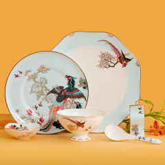 百鸟朝凤一人食国潮风陶瓷礼盒 创意设计餐具6件套装 礼品送什么