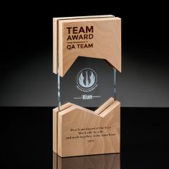 【开创之力】 不规则相框形  榉木水晶奖杯 工艺礼品厂家