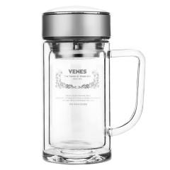 菲驰(VENES)博锐玻璃办公杯高温烧制双层玻璃杯 党员活动发什么纪念品好