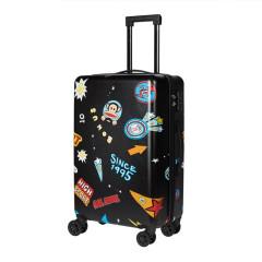 大嘴猴(Paul Frank)24寸磨砂质地铝合金拉缸黑色行李箱拉杆箱   箱包礼品定制
