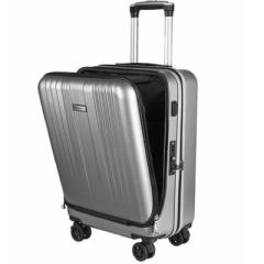 20寸USB充电接口拉杆箱 拉链款前置开口行李箱 创意商务礼品