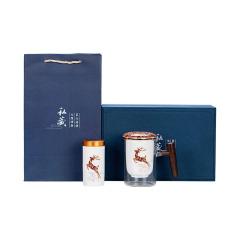 【一鹿平安】黑檀木手柄玻璃杯马克杯办公杯 会议滤水泡茶杯+茶叶罐组合套装 商务礼品