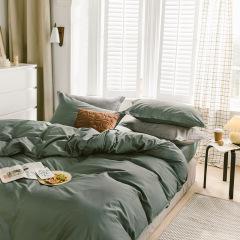 40支全棉纯色床上四件套 亲肤舒适双面拼色床上套件 1.5/1.8米床通用 家居礼品定制