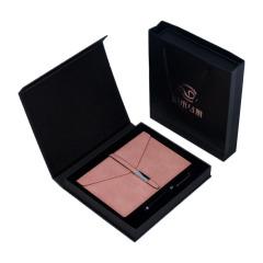 个性简约三折皮面笔记本套装 A5皮面笔记本签字笔两件套礼盒 商务礼品定制