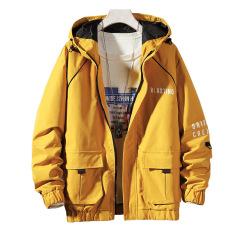 2020年新款春秋男式夹克 修身撞色连帽男式工装外套