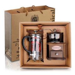 手摇磨豆机+法压壶咖啡具经典礼盒 公司年底小礼品
