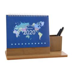 木质笔座2020台历 跨年15个月商务日历定制 实用的商务礼品
