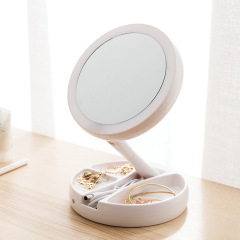 LED灯简易收纳智能高清折叠化妆镜 年会奖品参考