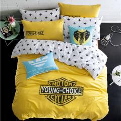 黄白撞色款被套纯棉欧美潮牌个性活性双人床上用品四件套  家居日用小礼品