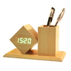 創意家居座鐘 LED菱形木質筆筒鐘     簡約辦公禮品