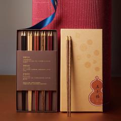 【五小福·五双装】红木手造筷箸×5套装 中式礼盒 高端大气上档次的伴手礼