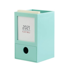 2021年多功能桌面收纳台历 创意笔筒台历 桌面办公收纳盒 定制小礼品