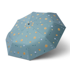 日系三折小清新自动伞 简约花色创意黑胶防晒遮阳伞 促销礼品伞