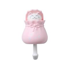 创意可爱塑料福袋猫衣服强力卫浴粘胶挂钩       小学生纪念品